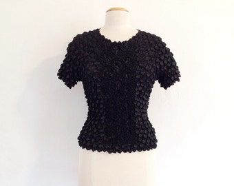 popcorn top black 90s tops fitted black top vintage 90s clothing avant garde clothing