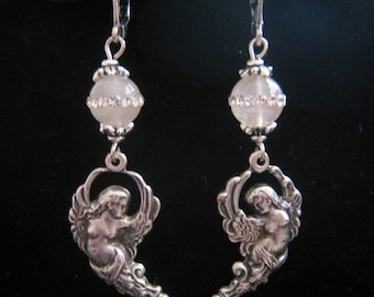 Deco Art Nouveau Repousse Winged Goddess Angel Woman Genuine Rose Quartz w/ Swarovski Crystal Bead Dangle Earrings Antique Silver Plat