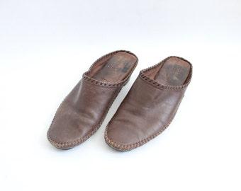 Minimal Brown Leather Mules