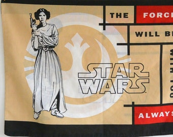 Vintage Star Wars Pillowcase // Luke and Leia // Force Be With You Always