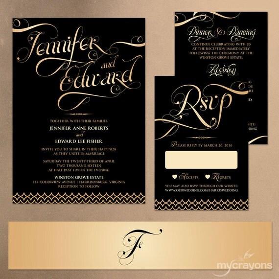 Black And Gold Invitation Wedding // New Years Wedding