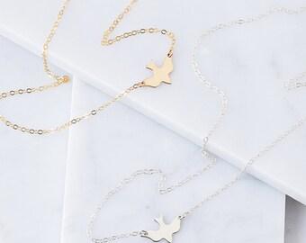 Bird Necklace, Soar, Dove Necklace, Gold Everyday Necklace, Dainty Chain, Simple Gold Necklace, Gold Filled/Sterling Silver/Rose Gold Filled