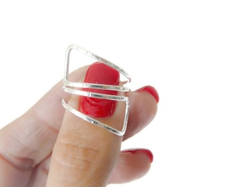 Sterling Silver Index Ring Minimalist Statement Ring Handmade Jewelry For Women