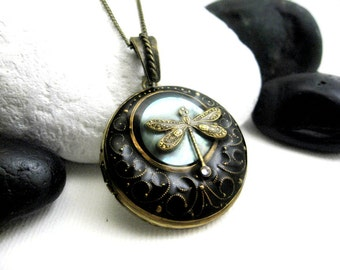 Solid Perfume Locket. Dragonfly Moon Shell, Black Locket Necklace. Natural Blue Shell Pendant. Solid Perfume Jewelry.