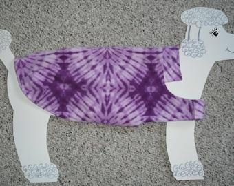 "Reversible Fleece Dog Coat — Purple Haze Tie-dye with modcloth lining, size Large. 28"" girth"