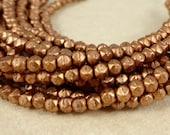 Czech Beads, 3mm English Cut, Czech Glass Beads - Matte Metallic Bronze Copper (EC/SM-K0178) - Qty. 50