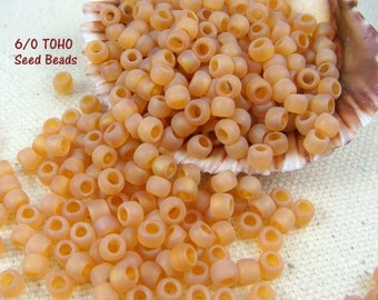 TOHO Seed Beads - 6/0 Frosted Peach (T6/N-009) - 4mm Seed Beads - Qty 10 grams