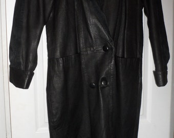 marco morani black leather long 3/4 to long trench coat amazing condition