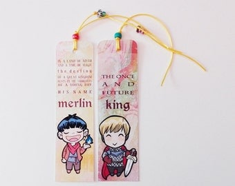 Merlin & Arthur BBC - illustrated paper bookmarks, print