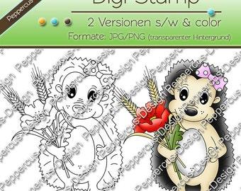 Digi stamp set - Hedgehog with poppy / E0068