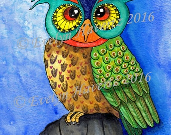 "Whimsical Owl ""Hugo"", mixed media painting on watercolor paper"