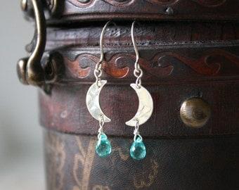 Weeping Moon Earrings - Aqua Turquoise Seafoam Quartz Gemstone Drops, Crescent Moon Sterling Silver Dangle Earrings, Handmade Jewellery