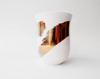 Gold Ribbon Mug, Porcelain with Gold Paint, Ceramic Mug, Handmade