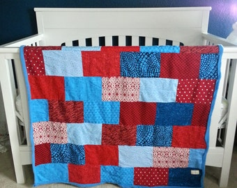 Snuggle Brick Blanket, Fleece Quilt, Baby Blanket, Crib Quilt, Toddler Blanket, Snuggle Quilt, Security Blanket