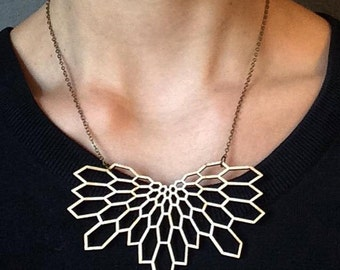 necklace / collier cell structure - lasercut from birch wood