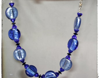 SALE....Blue India Dichoric Glass with a unique silver plated chain