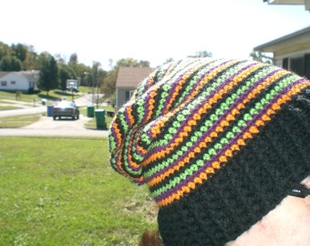 Crochet Halloween Striped Slouchy Hat