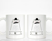 Gay Couple Mugs, Set of 2 MR and MR Mugs, Gay Wedding Gift, Cat Mugs, Marriage Gift, Engagement Gift, Anniversary Gift, Animal Coffee Mugs