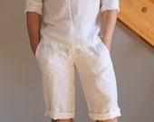 Man white knee length shorts linen beach wedding party special occasion knee length birthday summer holiday