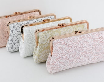 Rose Gold Kisslock Lace Clutches / Personalised Lace Bridal Clutches / Monogrammed Wedding Gift - Set of 5