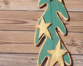 Wooden pine tree w/ stars door or wall hanging,plaque,primitive,rustic,rough finished,destash,embellish,re-work,rescued,reclaimed