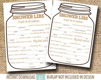 Printable Bridal Shower Game-- Mason Jar Theme, Mad Libs for the Bride to Be- Neutral Color only-Customization NOT Included