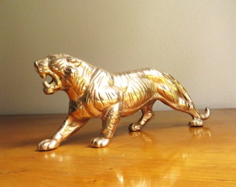 Vintage Brass Tiger Figurine, Gold Tiger Paperweight, Tiger Statue, Asian Animal Figure, Large