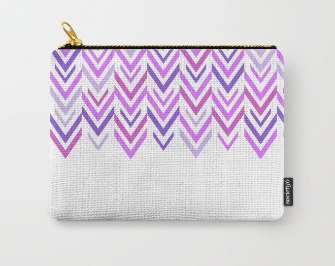 Purple Carry All Pouch - Make-up Bag-Original Art- Pouch- Toiletry Bag - Change Purse - Organizing Bag - Made to Order
