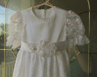 White satin and lace Christening, Baptism, Blessing dress with flower embellished belt
