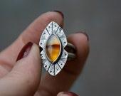 Rogue River Ring in Montana Agate- Southwestern Ring -Boho Jewelry - Edgy Gemstone Ring - Sunrise Gemstone - Size 6.75