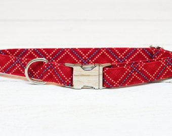 4th of July Dog Collar, Red, White and Blue Stars, Plaid, Patriotic, Fourth of July, Metallic, Pet Collar with Metal Buckle
