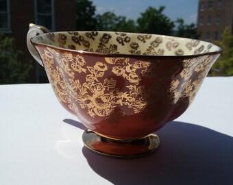 1950s Empress Series Royal Albert Teacup Shape Avon in Orange and Gold Embossed Floral Roses