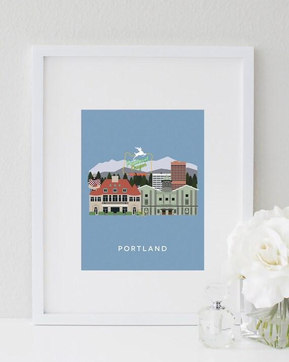 Portland City Print Portland Wall Art Portland Skyline