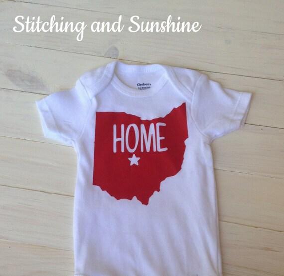 Custom State Bodysuit Home Bodysuit Hometown Bodysuit Ohio