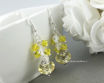 Yellow Earrings, Bridesmaid Earrings, Crystal Earrings, Cluster Earrings, Bridesmaids Gifts, Chunky Earrings, Yellow Crystal Earrings