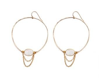 Cascading Druzy Hoop Earrings