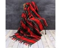 Red & Black Plaid Throw - Plaid Stadium Blanket - Soft Stadium Blanket - Soft Plaid Throw - Fringed Blanket - Vintage Throw - Tartan Throw