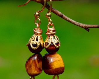 Tiger's Eye Beads and Gold Earrings