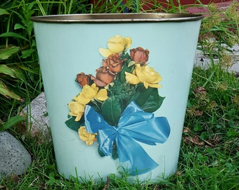 Vintage DOUBLE SIDED Sea Foam Green Floral Metal Wastebasket Trash Can