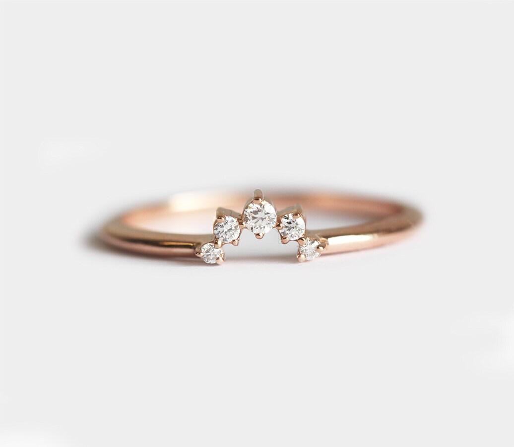 simple prong ring crown wedding rings Diamond Crown Ring Matching Diamond Band Diamond Wedding Ring Diamond Wedding Band Prong Set Diamond Ring Simple Diamond Band