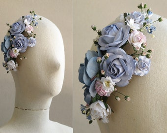 Blue Fascinator Hat - Flower milinerry hair clip - Serenity Blue & Rose Quartz - Made of mulberry paper flowers - Great for wedding parties