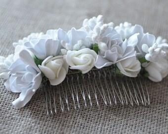 Flower white comb bridal comb bridal hair comb decorative combs hair comb wedding headpiece bridal comb weddings flower hair comb