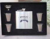 Set of 7, Groomsmen Gift, Flask Gift Set - Personalized Flask, Engraved Flask, Personalized Shot Glasses & Funnel - Wedding Party Flasks