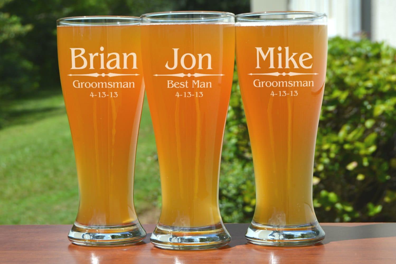 Groomsmen Gifts Personalized Beer Glasses Monogram Custom Wedding Party Best Man Gift