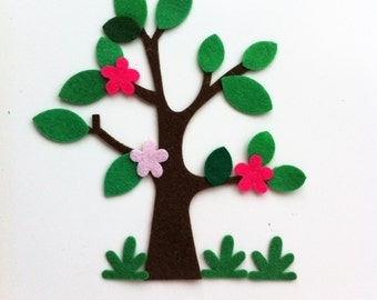 4 DIY/make your own felt trees leaves, flowers and grass. Sewing projects, bunting, applique, sizzix, die cuts, craft supplies, cardmaking