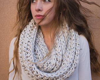 Crochet Pattern - Chunky Ribbed Infinity Scarf (Infinity Scarf Crochet Pattern by Little Monkeys Crochet) Infinity Scarf Pattern, Bulky
