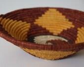 Handwoven Basket / Small / Geometric Pattern /  Orange Diamond / African