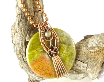 Wire Wrapped Unakite Donut Pendant Antiqued Copper