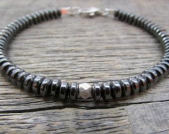 Men's Hematite Bracelet, Men's Bracelet, Men's Stack Bracelet, Men's Bead Bracelet, Hematite Jewelry, Gift For Men, Men's Gift