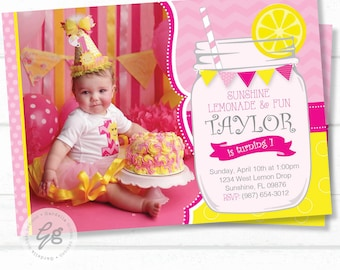 Lemonade Birthday Invitation, Lemonade Invitation, Lemonade Invite, Pink Lemonade, Lemonade Party, Lemonade Mason Jar, Sunshine Invitation